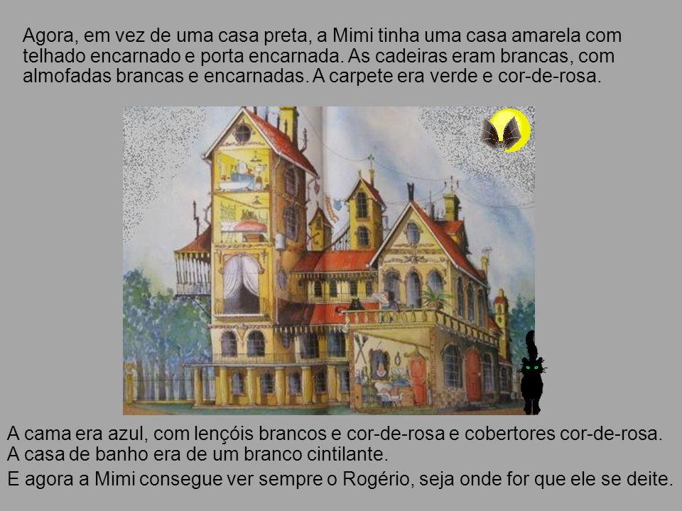 Agora, em vez de uma casa preta, a Mimi tinha uma casa amarela com telhado encarnado e porta encarnada. As cadeiras eram brancas, com almofadas brancas e encarnadas. A carpete era verde e cor-de-rosa.