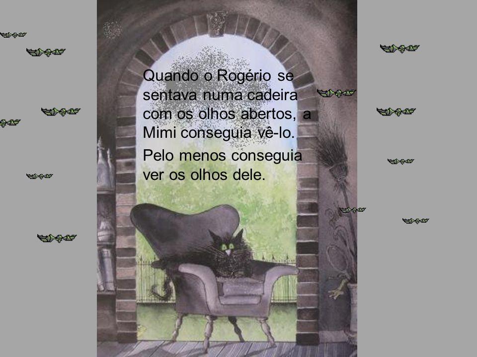 Quando o Rogério se sentava numa cadeira com os olhos abertos, a Mimi conseguia vê-lo.