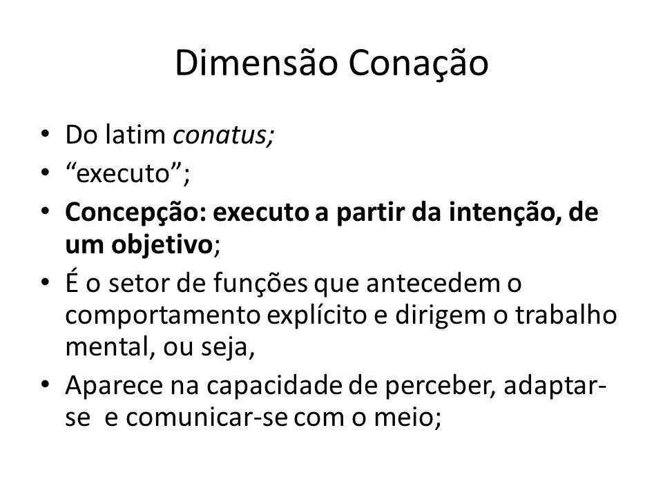 Dimensão Conação Do latim conatus; executo ;