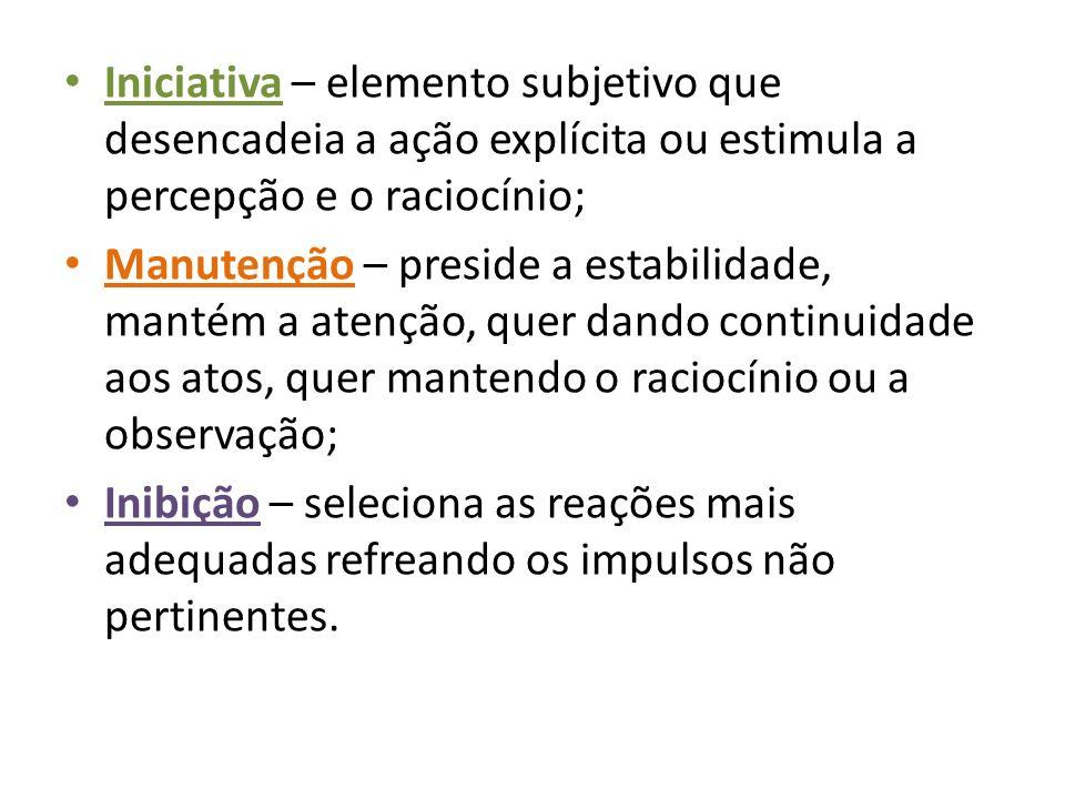 Iniciativa – elemento subjetivo que desencadeia a ação explícita ou estimula a percepção e o raciocínio;