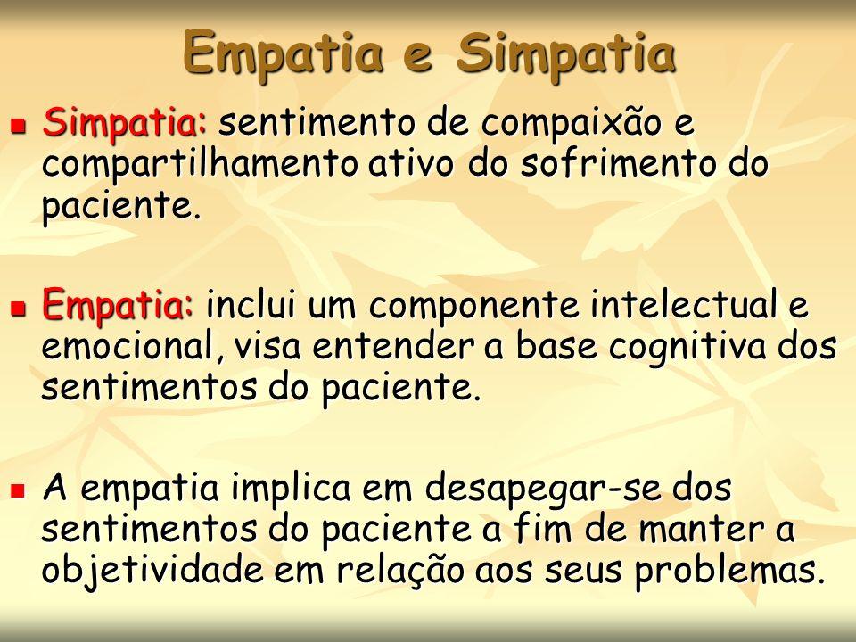 Empatia e Simpatia Simpatia: sentimento de compaixão e compartilhamento ativo do sofrimento do paciente.