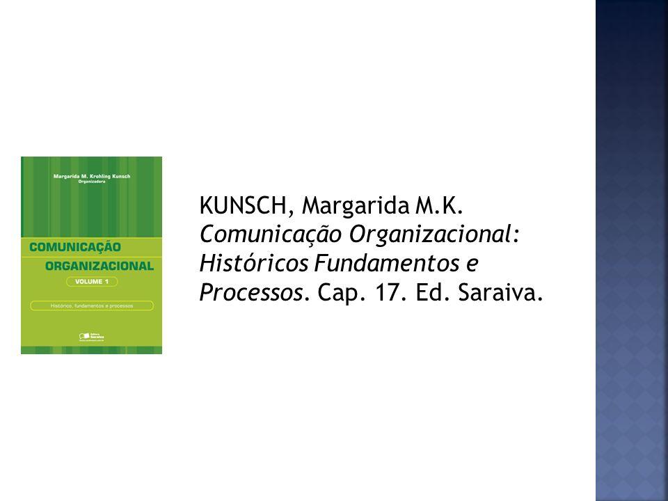 KUNSCH, Margarida M.K. Comunicação Organizacional: Históricos Fundamentos e Processos.