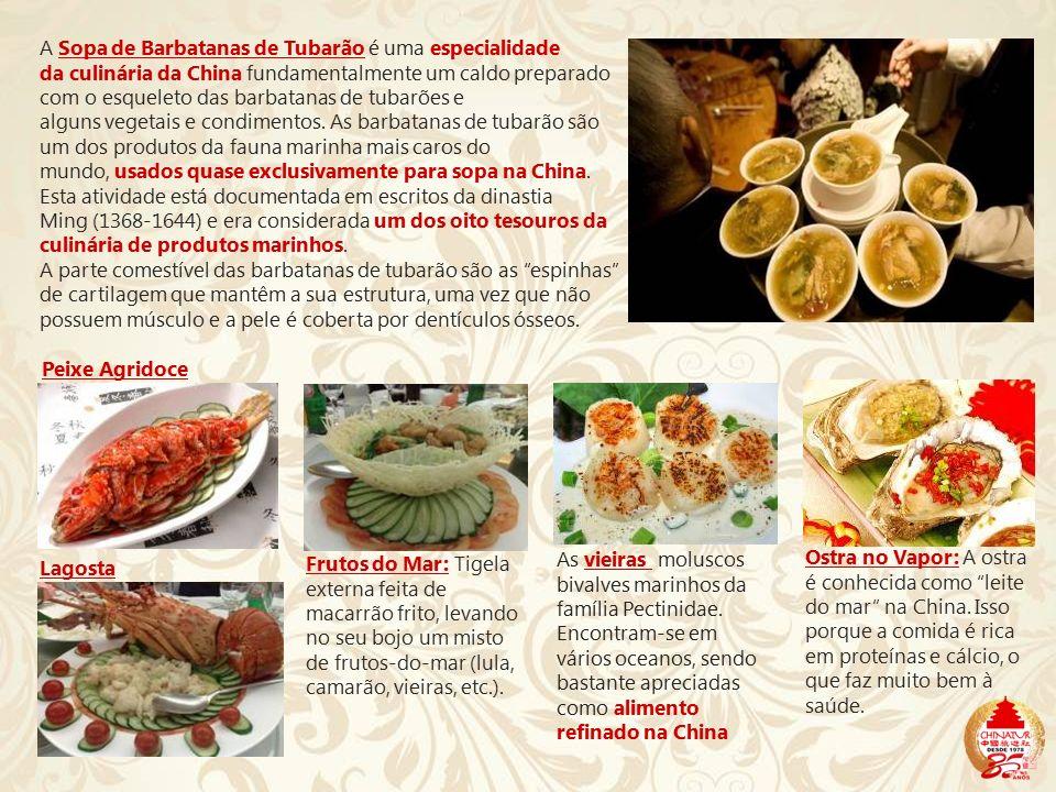 A Sopa de Barbatanas de Tubarão é uma especialidade da culinária da China fundamentalmente um caldo preparado com o esqueleto das barbatanas de tubarões e alguns vegetais e condimentos. As barbatanas de tubarão são um dos produtos da fauna marinha mais caros do mundo, usados quase exclusivamente para sopa na China. Esta atividade está documentada em escritos da dinastia Ming (1368-1644) e era considerada um dos oito tesouros da culinária de produtos marinhos.