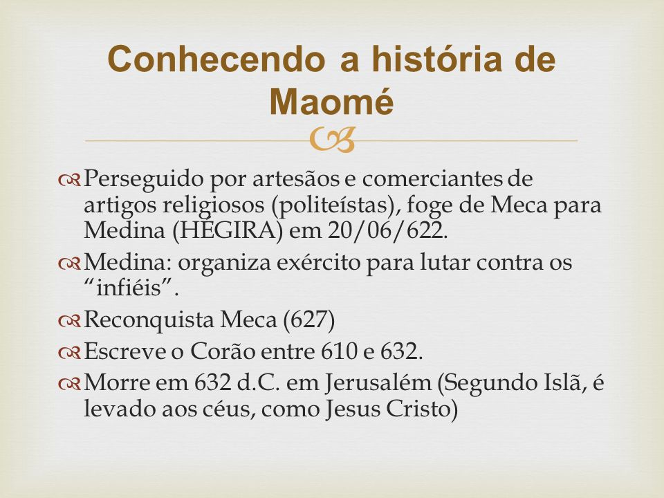 Conhecendo a história de Maomé