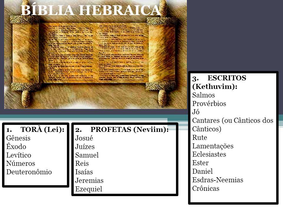BÍBLIA HEBRAICA 3. ESCRITOS (Kethuvim): Salmos Provérbios Jó