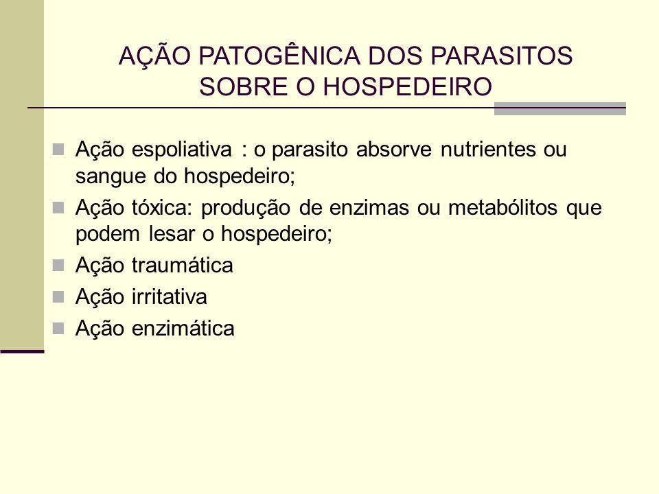 AÇÃO PATOGÊNICA DOS PARASITOS SOBRE O HOSPEDEIRO