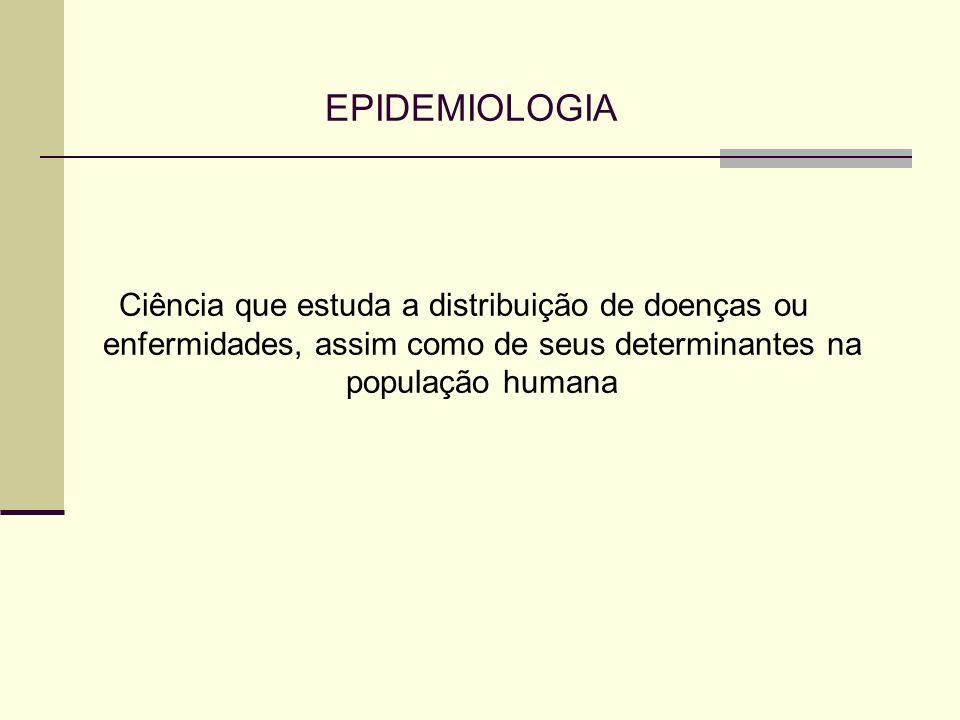 EPIDEMIOLOGIA Ciência que estuda a distribuição de doenças ou enfermidades, assim como de seus determinantes na população humana.