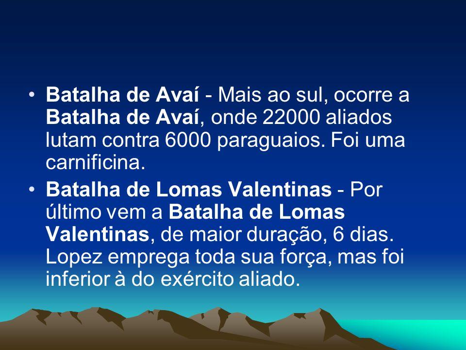 Batalha de Avaí - Mais ao sul, ocorre a Batalha de Avaí, onde 22000 aliados lutam contra 6000 paraguaios. Foi uma carnificina.