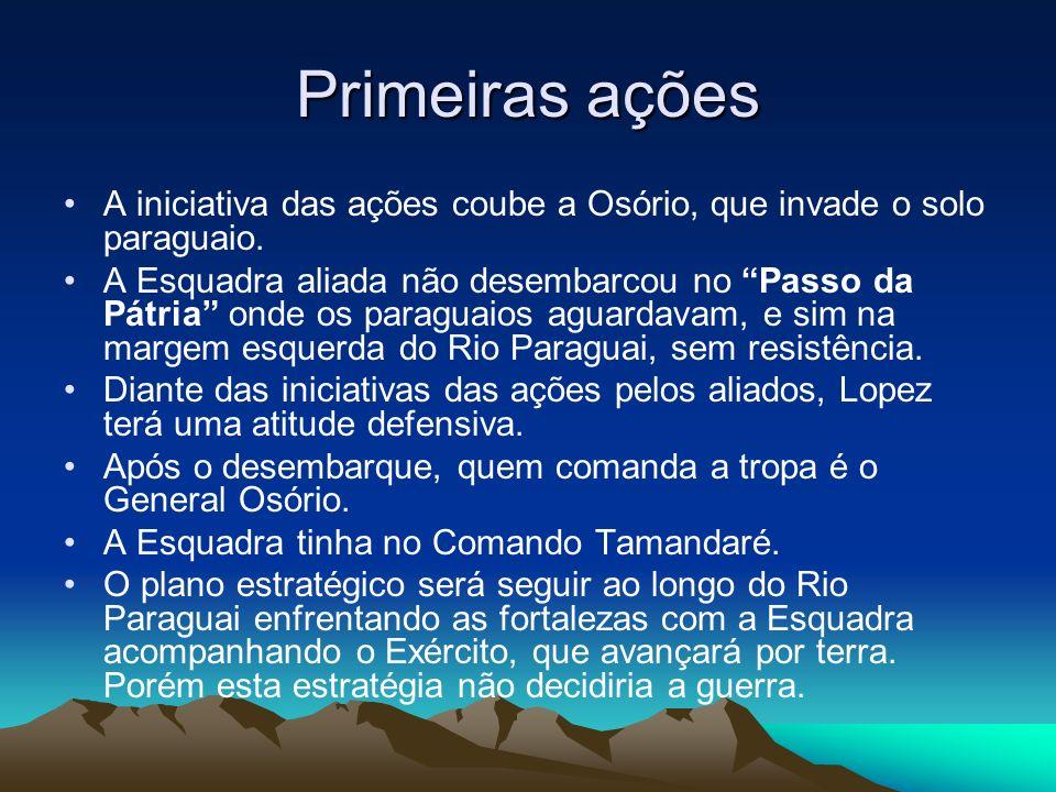 Primeiras ações A iniciativa das ações coube a Osório, que invade o solo paraguaio.