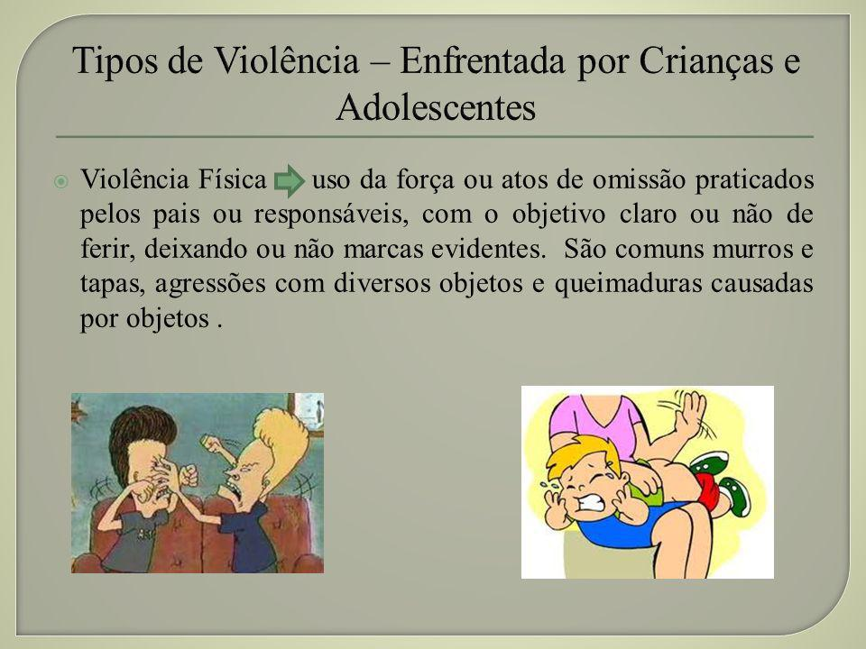 Tipos de Violência – Enfrentada por Crianças e Adolescentes