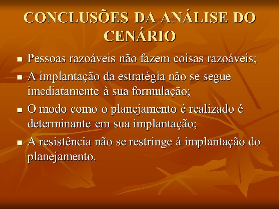 CONCLUSÕES DA ANÁLISE DO CENÁRIO