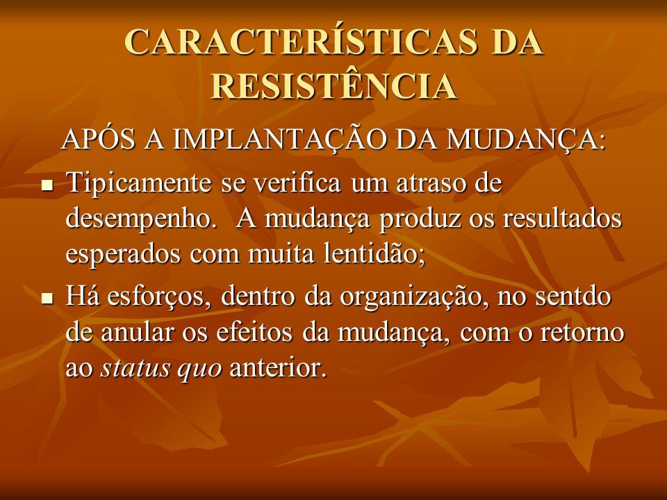 CARACTERÍSTICAS DA RESISTÊNCIA