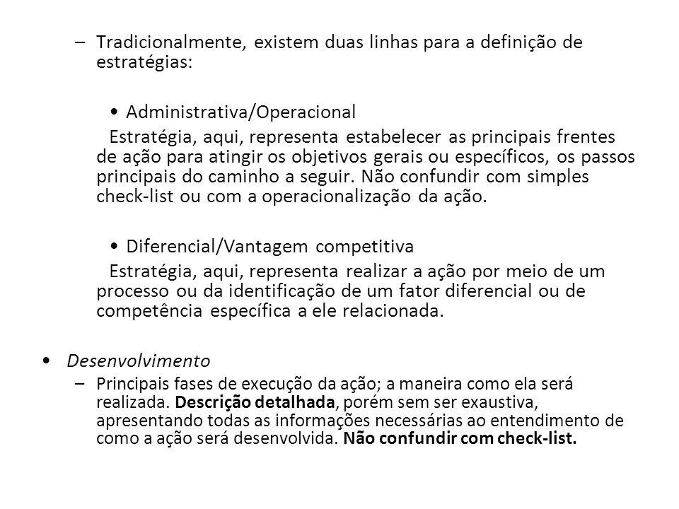 Tradicionalmente, existem duas linhas para a definição de estratégias: