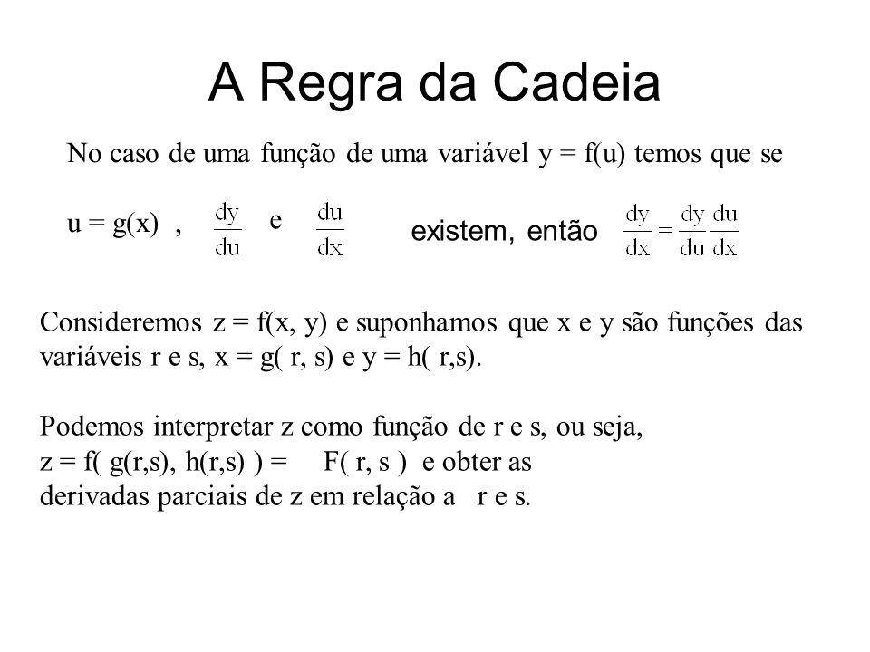 A Regra da Cadeia No caso de uma função de uma variável y = f(u) temos que se. u = g(x) , e. existem, então.