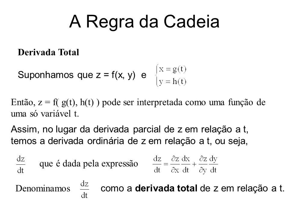 A Regra da Cadeia Derivada Total Suponhamos que z = f(x, y) e