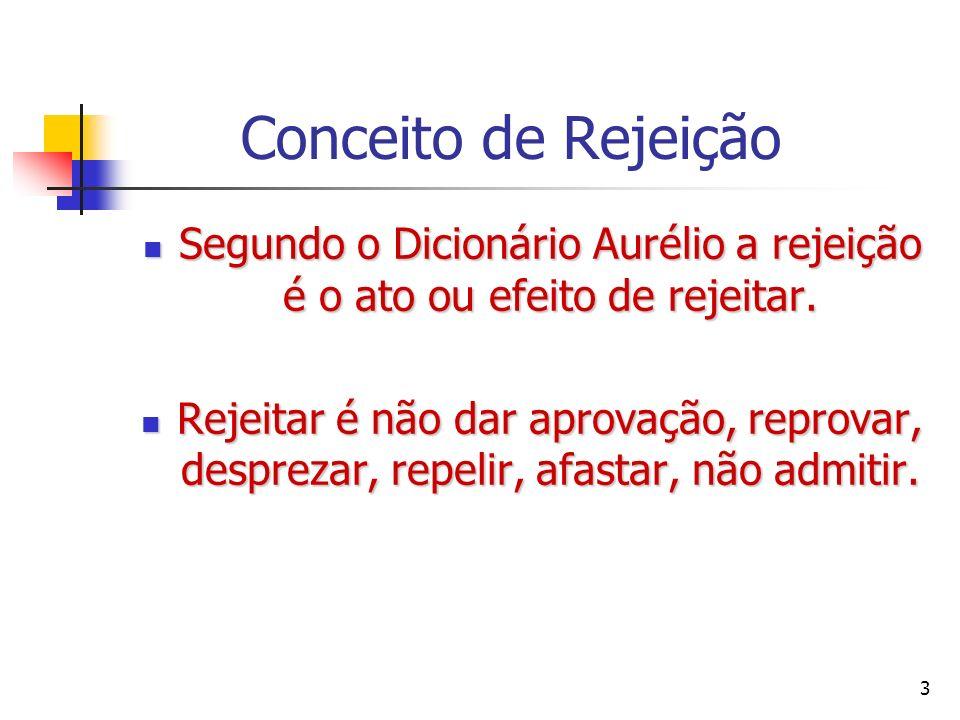 Segundo o Dicionário Aurélio a rejeição é o ato ou efeito de rejeitar.