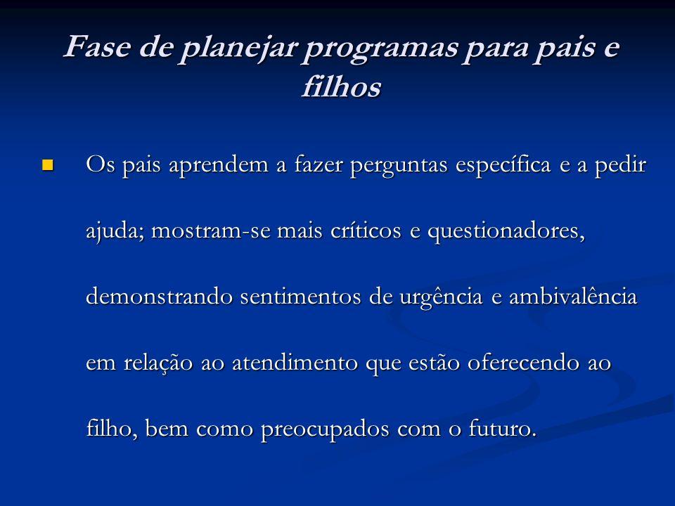 Fase de planejar programas para pais e filhos