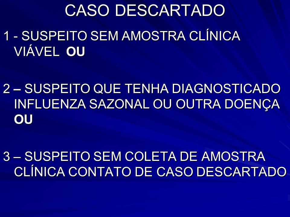 CASO DESCARTADO 1 - SUSPEITO SEM AMOSTRA CLÍNICA VIÁVEL OU