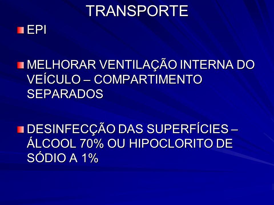 TRANSPORTE EPI. MELHORAR VENTILAÇÃO INTERNA DO VEÍCULO – COMPARTIMENTO SEPARADOS.