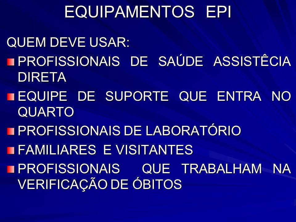 EQUIPAMENTOS EPI QUEM DEVE USAR: