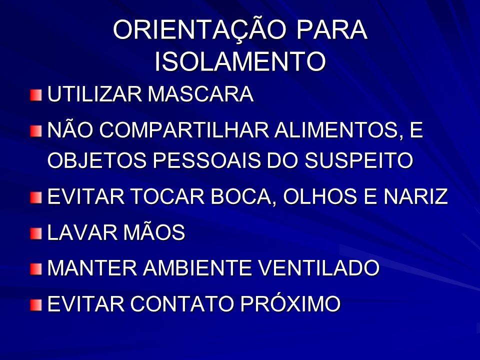 ORIENTAÇÃO PARA ISOLAMENTO