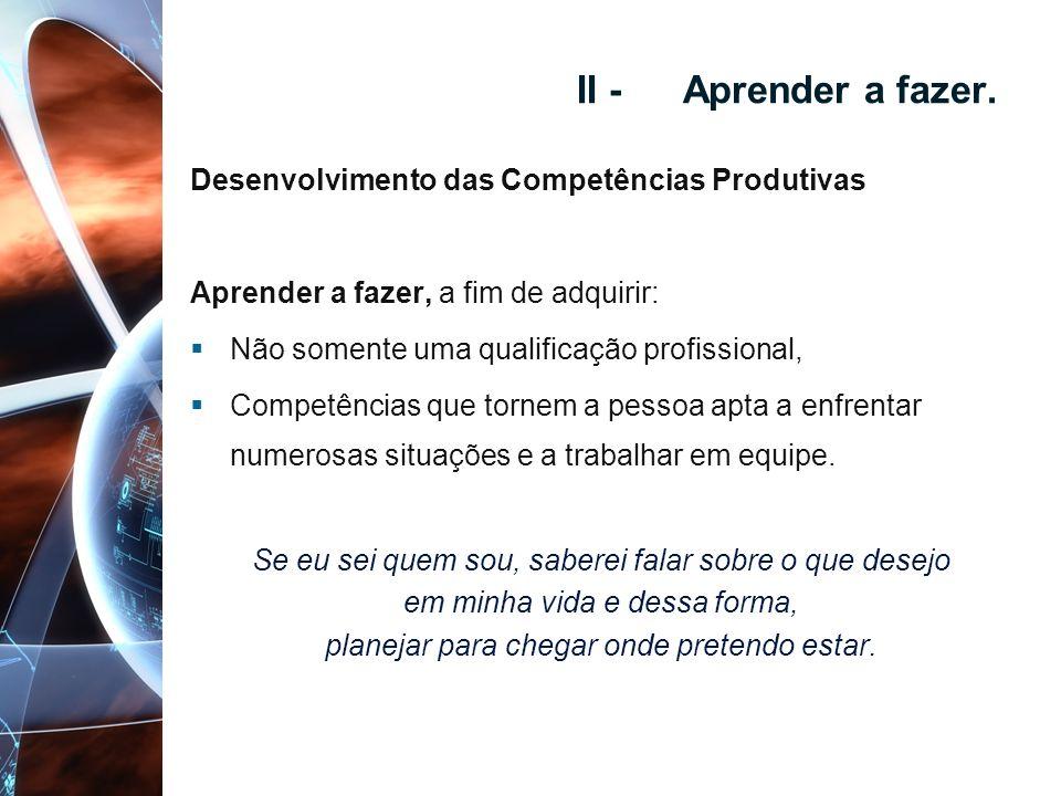 II - Aprender a fazer. Desenvolvimento das Competências Produtivas