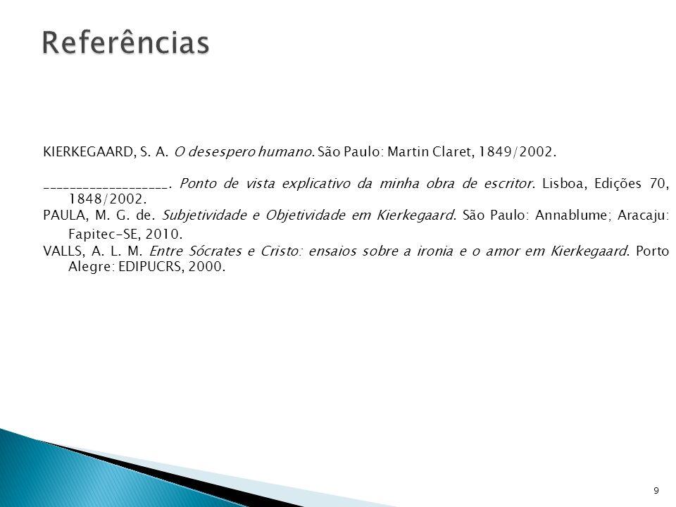 Referências KIERKEGAARD, S. A. O desespero humano. São Paulo: Martin Claret, 1849/2002.