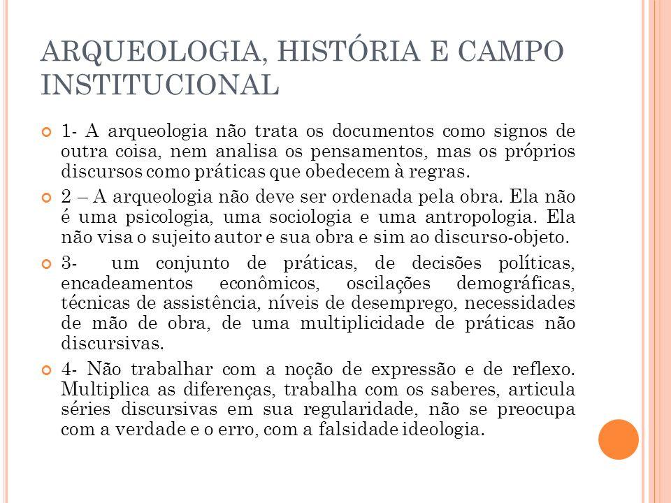 ARQUEOLOGIA, HISTÓRIA E CAMPO INSTITUCIONAL