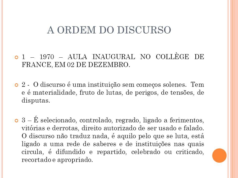 A ORDEM DO DISCURSO 1 – 1970 – AULA INAUGURAL NO COLLÈGE DE FRANCE, EM 02 DE DEZEMBRO.