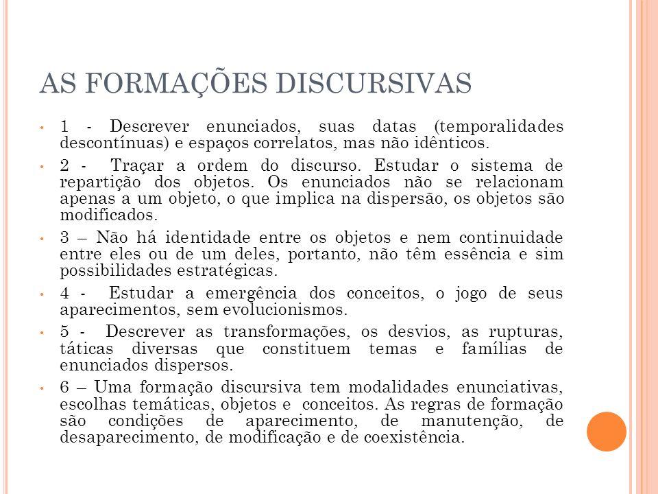 AS FORMAÇÕES DISCURSIVAS