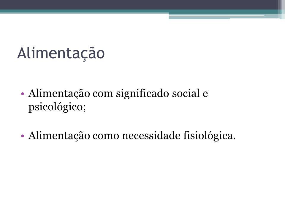 Alimentação Alimentação com significado social e psicológico;