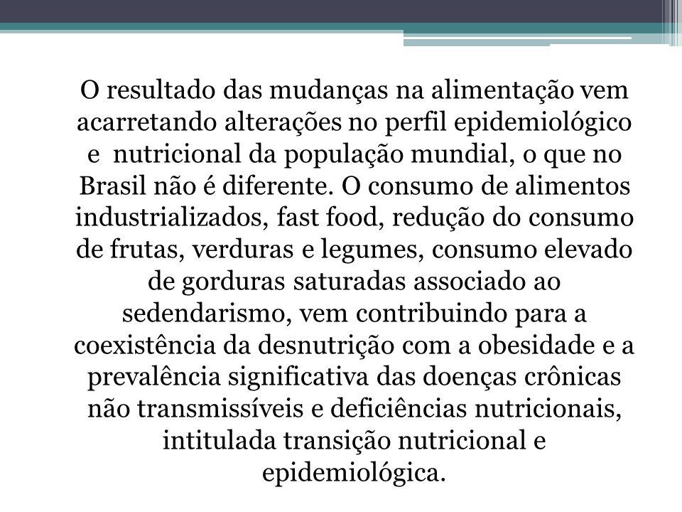 O resultado das mudanças na alimentação vem acarretando alterações no perfil epidemiológico e nutricional da população mundial, o que no Brasil não é diferente.
