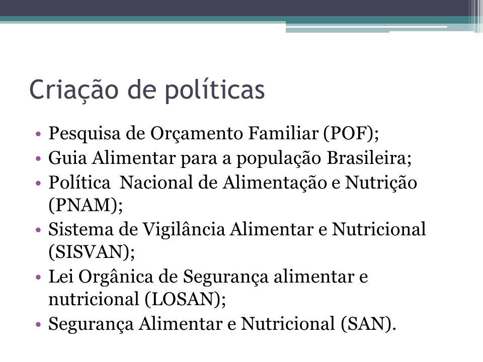 Criação de políticas Pesquisa de Orçamento Familiar (POF);