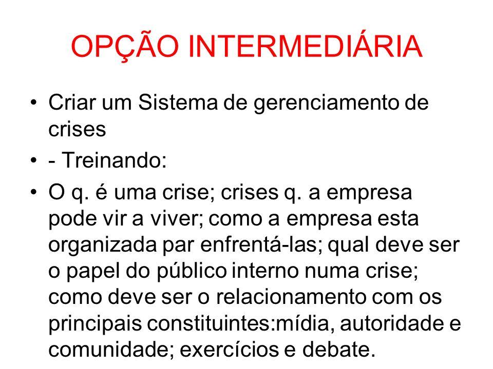 OPÇÃO INTERMEDIÁRIA Criar um Sistema de gerenciamento de crises