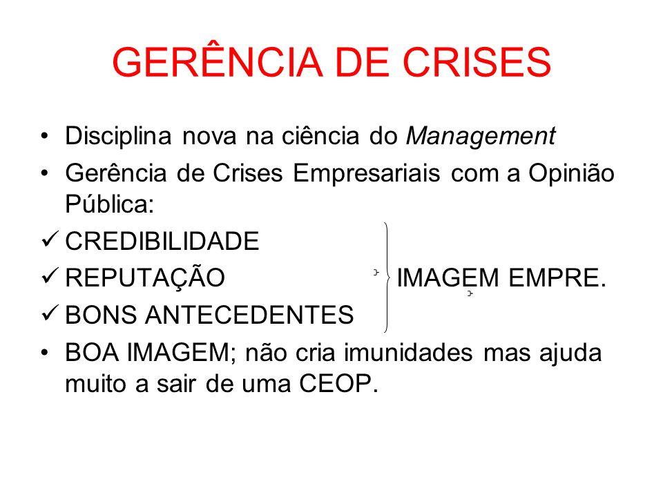GERÊNCIA DE CRISES Disciplina nova na ciência do Management