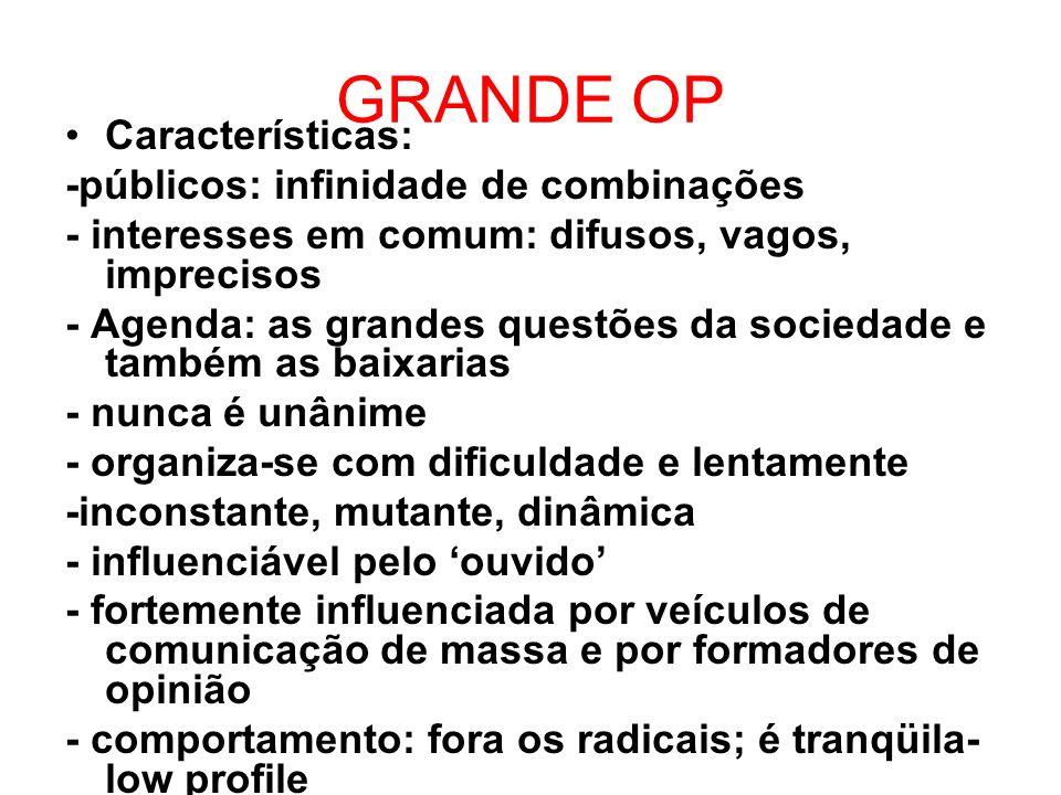 GRANDE OP Características: -públicos: infinidade de combinações