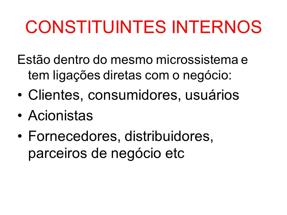 CONSTITUINTES INTERNOS