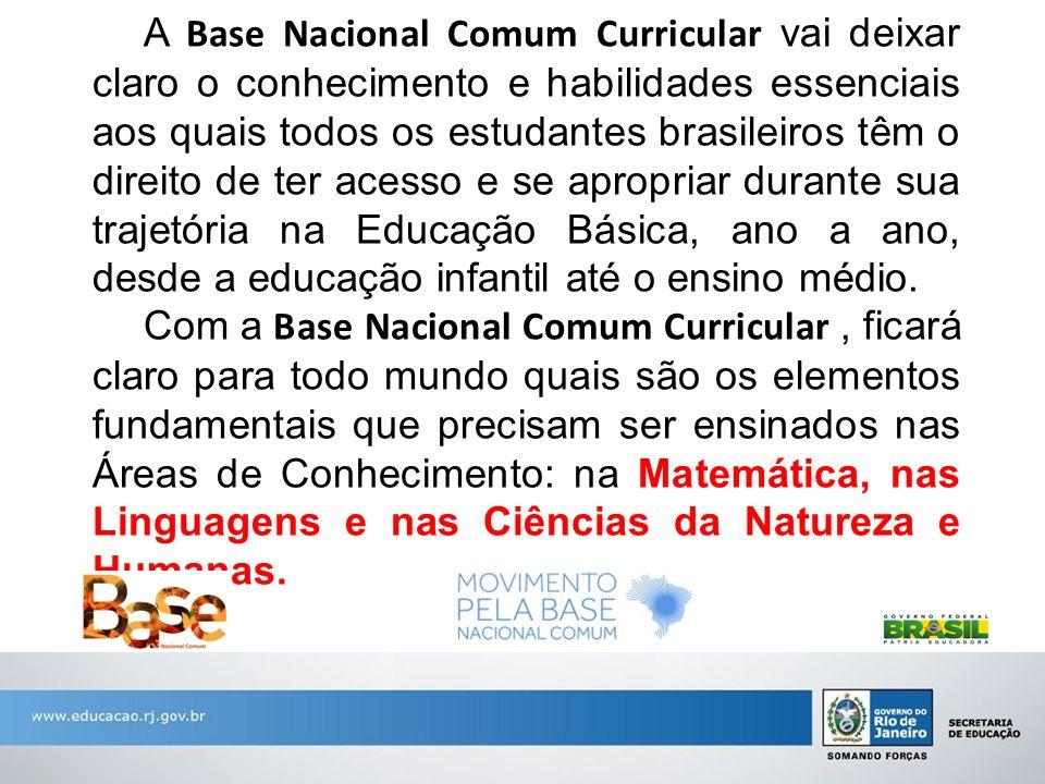 A Base Nacional Comum Curricular vai deixar claro o conhecimento e habilidades essenciais aos quais todos os estudantes brasileiros têm o direito de ter acesso e se apropriar durante sua trajetória na Educação Básica, ano a ano, desde a educação infantil até o ensino médio.