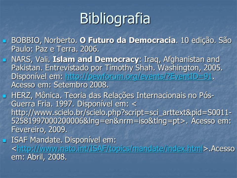 BibliografiaBOBBIO, Norberto. O Futuro da Democracia. 10 edição. São Paulo: Paz e Terra. 2006.