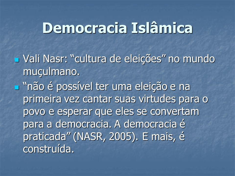 Democracia Islâmica Vali Nasr: cultura de eleições no mundo muçulmano.