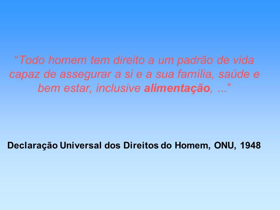 Todo homem tem direito a um padrão de vida capaz de assegurar a si e a sua família, saúde e bem estar, inclusive alimentação, ... Declaração Universal dos Direitos do Homem, ONU, 1948