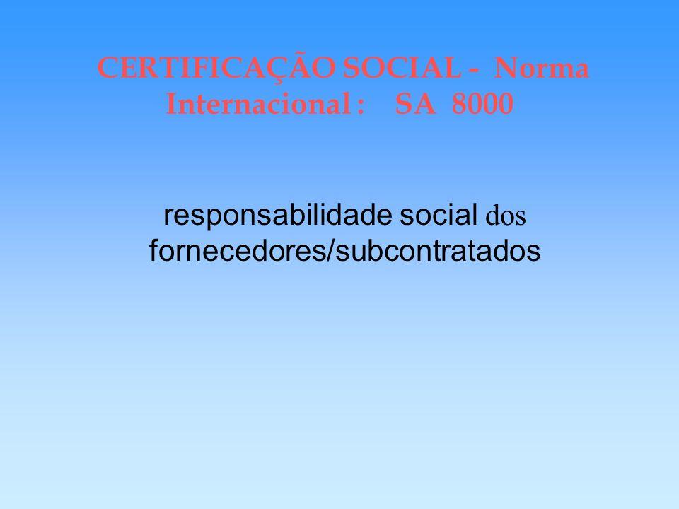 CERTIFICAÇÃO SOCIAL - Norma Internacional : SA 8000