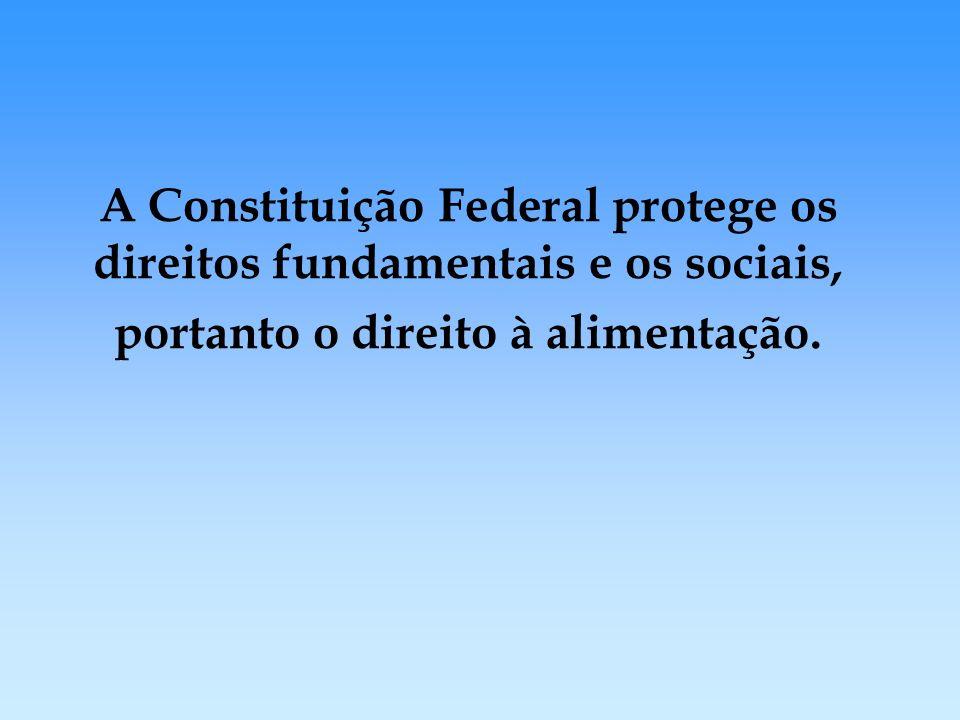 A Constituição Federal protege os direitos fundamentais e os sociais, portanto o direito à alimentação.