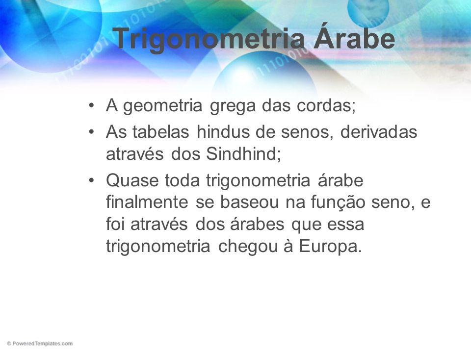 Trigonometria Árabe A geometria grega das cordas;