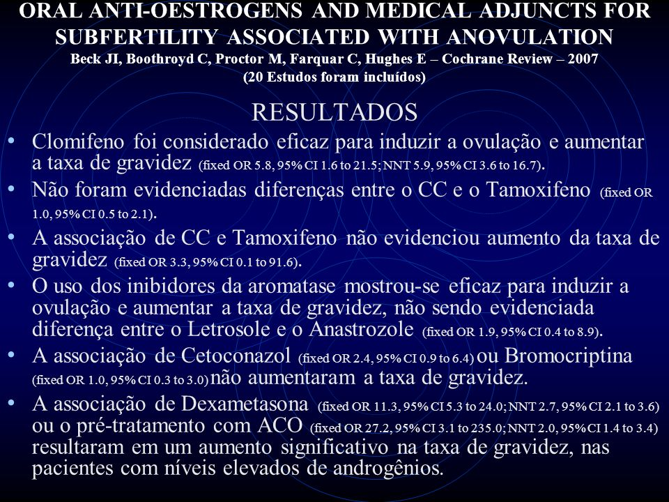 ORAL ANTI-OESTROGENS AND MEDICAL ADJUNCTS FOR SUBFERTILITY ASSOCIATED WITH ANOVULATION Beck JI, Boothroyd C, Proctor M, Farquar C, Hughes E – Cochrane Review – 2007 (20 Estudos foram incluídos)