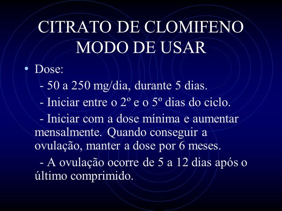 CITRATO DE CLOMIFENO MODO DE USAR