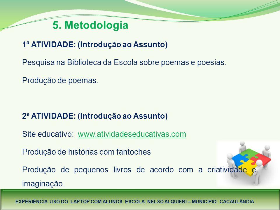 5. Metodologia 1ª ATIVIDADE: (Introdução ao Assunto)