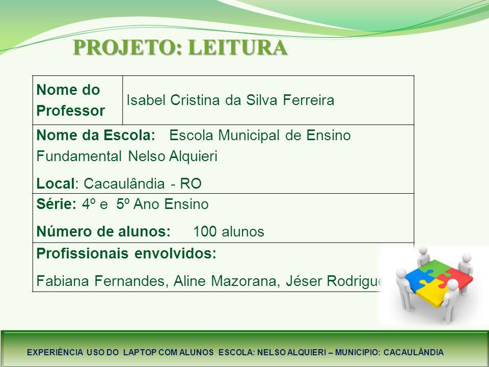 PROJETO: LEITURA Nome do Professor Isabel Cristina da Silva Ferreira