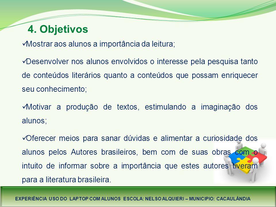 4. Objetivos Mostrar aos alunos a importância da leitura;