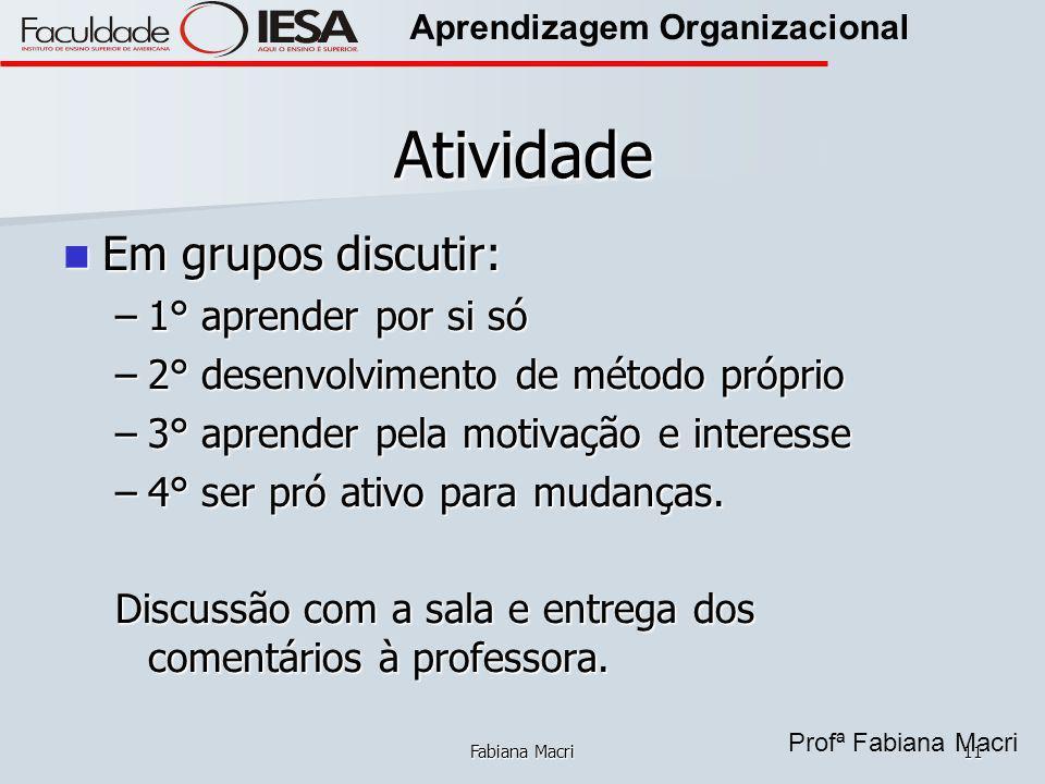 Atividade Em grupos discutir: 1° aprender por si só
